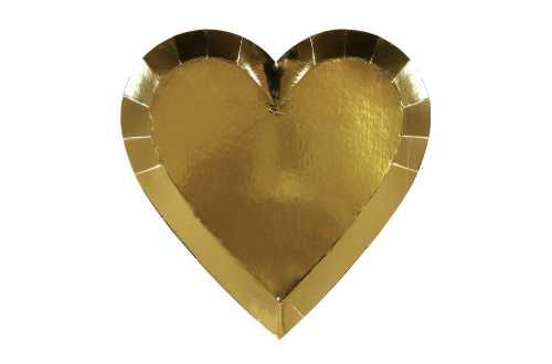 8 Assiettes - Cœur dorée