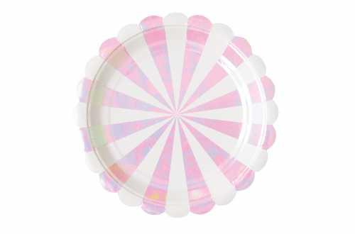 8 Petites assiettes à bandes roses irisés