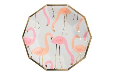 8 Assiettes - Flamant rose
