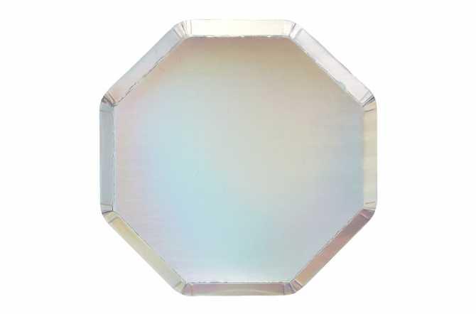 8 Assiettes octogonales argentées holographiques