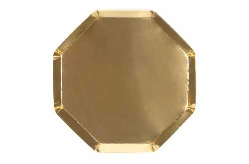 8 Assiettes octogonales dorées