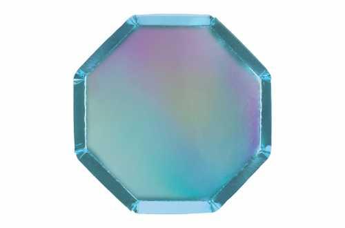 8 Assiettes octogonales bleues holographiques