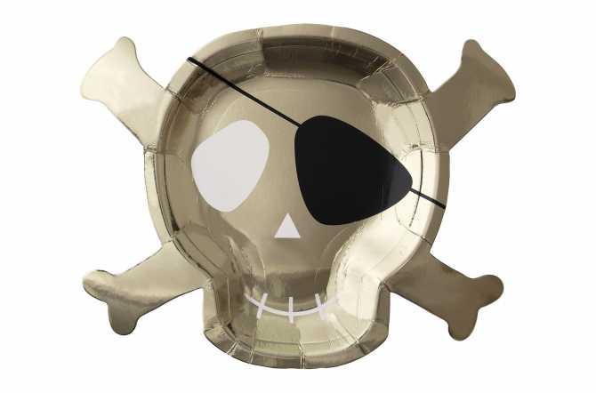 8 Grandes assiettes - Pirate et tête de mort