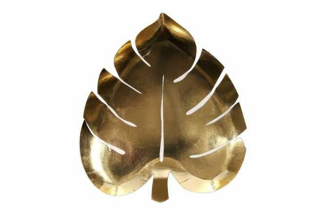 8 assiettes en feuilles de palmiers dore