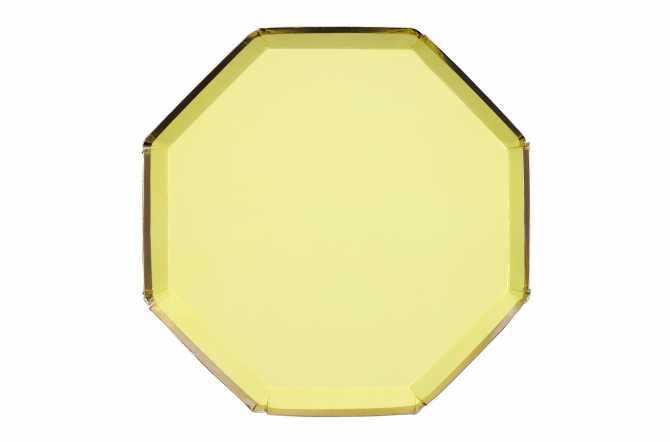 8 Assiettes octogonales jaune pastel à bord doré