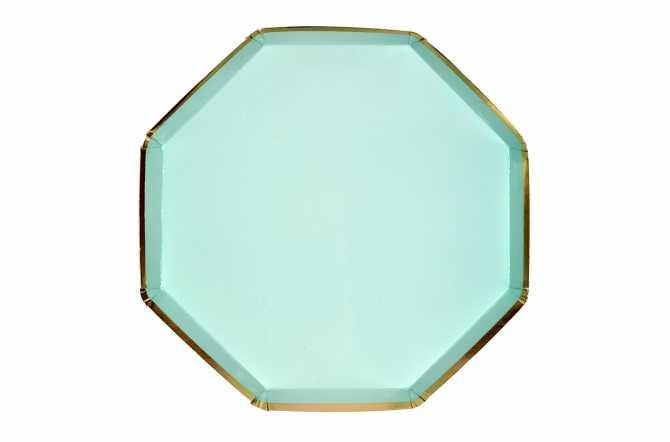 8 Assiettes octogonales bleu pastel à bord doré