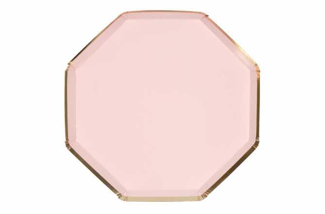 8 Assiettes octogonales rose pastel à bord doré