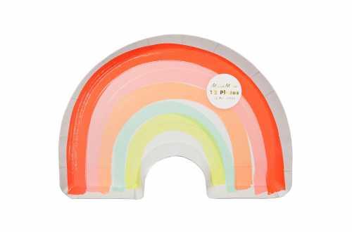 12 Grandes assiettes pastels - Arc-en-ciel