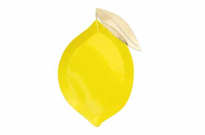 8 Grandes assiettes - Citron jaune