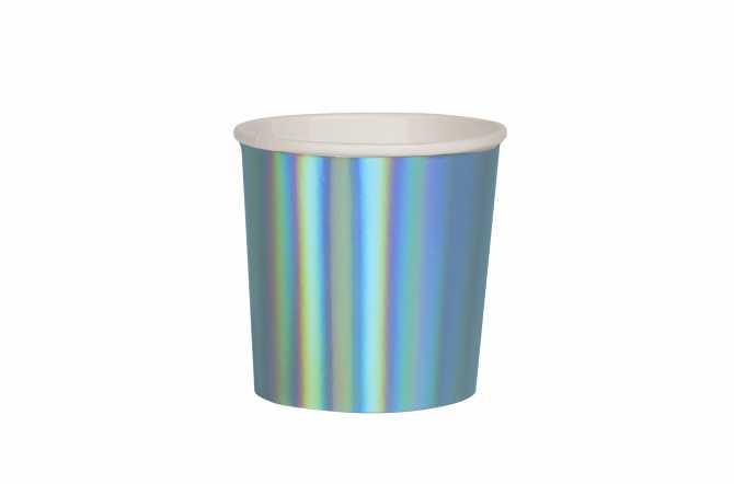 8 Petits gobelets bleu holographique