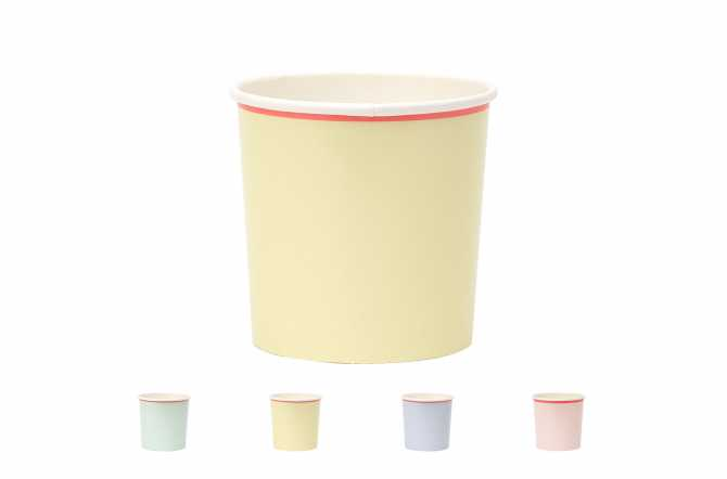 12 Petits gobelets pastel à bord fluo