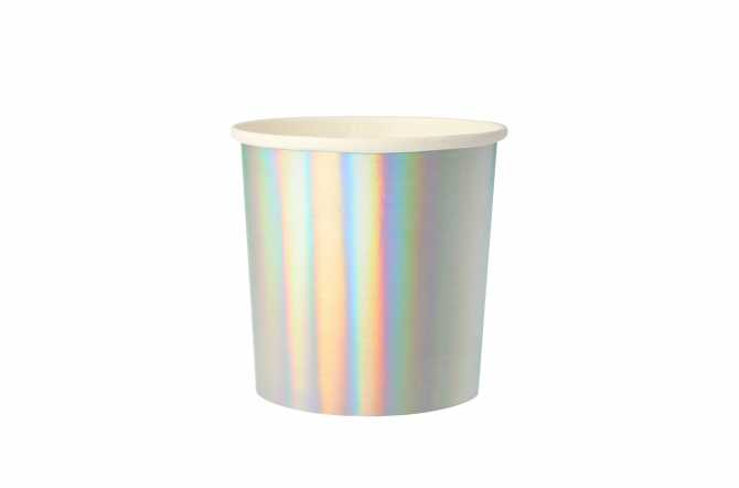 8 Petits gobelets argenté holographique