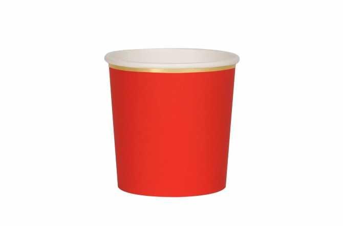 8 Petits gobelets rouge pastel à bord doré