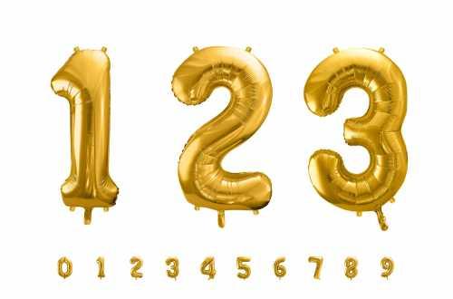 1 Grand ballon chiffre doré - 86 cm