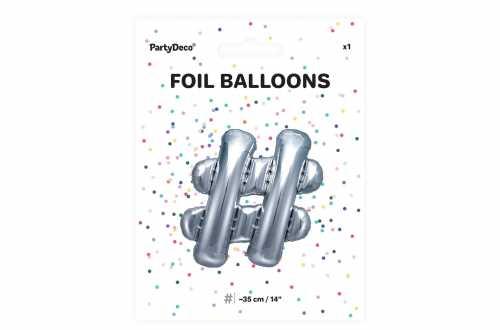 1 Petit ballon hashtag argenté - 35 cm
