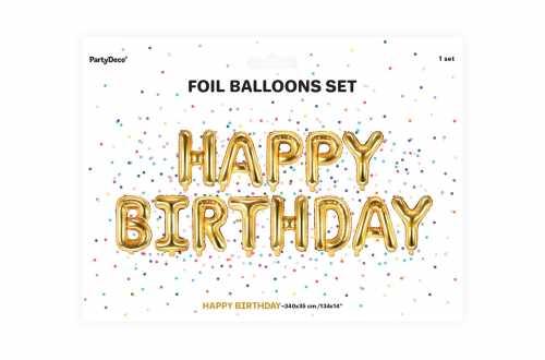 Ballon HAPPY BIRTHDAY doré - 340 x 35 cm