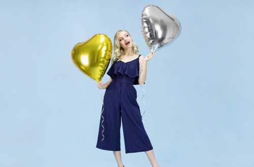 Ballon cœur argenté - 45 cm