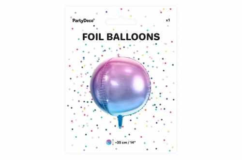 Ballon rond ombré violet et bleu - 35 cm