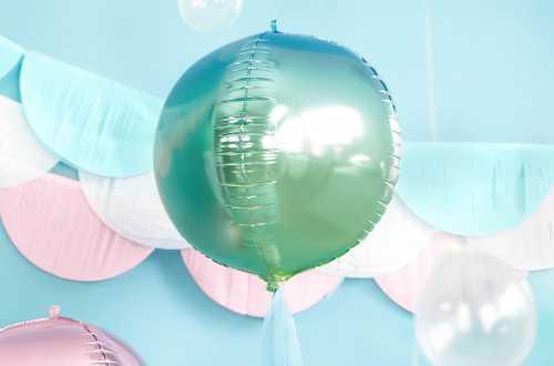 Ballon rond ombré bleu et vert - 35 cm