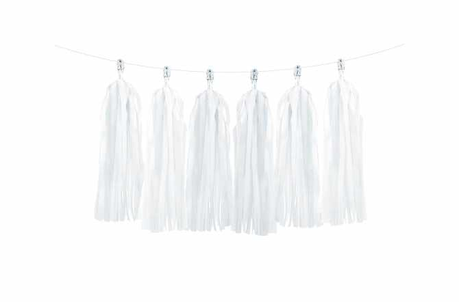 Kit de guirlande tassel blanche pour fête blanche