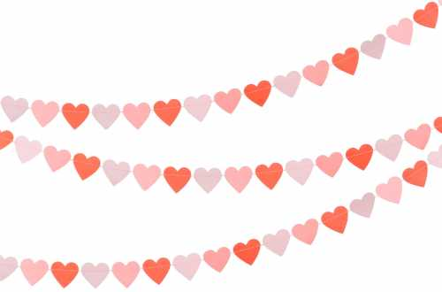 Guirlande de 45 Cœurs cousus