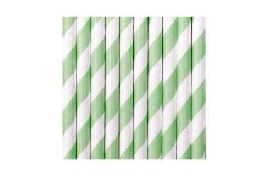 10 Pailles à rayures vert menthe