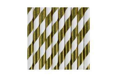 10 Pailles à rayures dorées métallisées
