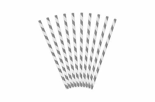 10 Pailles à rayure argenté métallisé