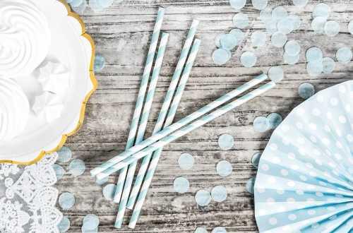 10 Pailles à rayures bleues clair