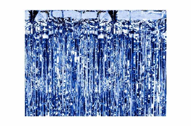 Rideau mylar bleu
