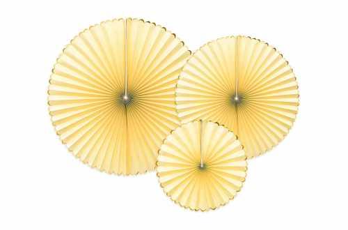 3 Rosaces décoratives - jaune a bord doré