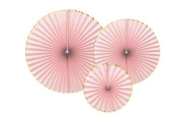3 Rosaces décoratives - rose à bord doré