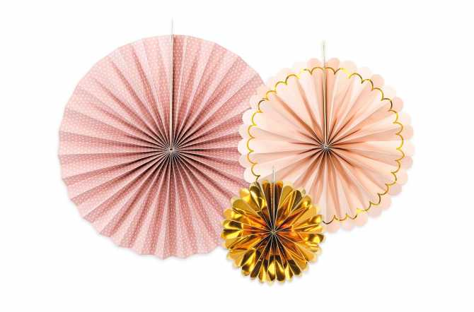 3 Rosaces décoratives - rose et doré