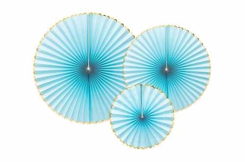 3 Rosaces décoratives - bleu ciel à bord doré