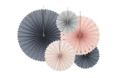 5 Rosaces décoratives - pêche, rose et gris