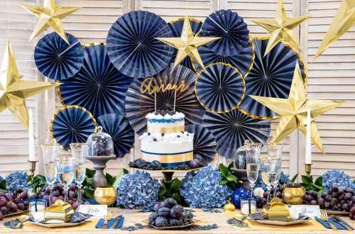 3 Rosaces décoratives - bleu royal à bord doré