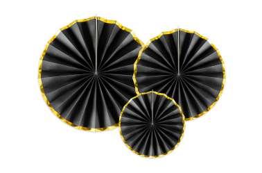 3 Rosaces décoratives - noir à bord doré