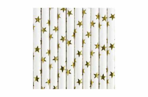 10 Pailles étoiles dorées