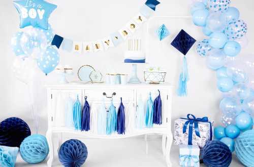 Boule alvéolées décoratives - bleu