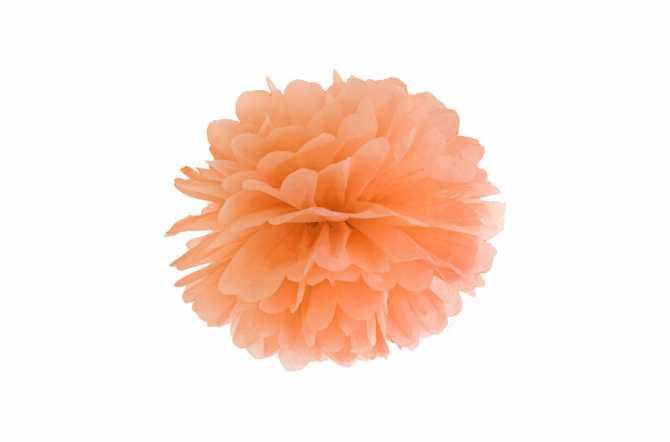 Pompon en papier de soie - orange pastel