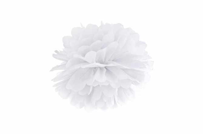 Pompon en papier de soie - blanc