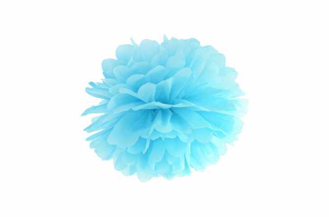Pompon en papier de soie - bleu ciel