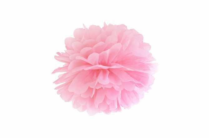 Pompon en papier de soie - rose pastel