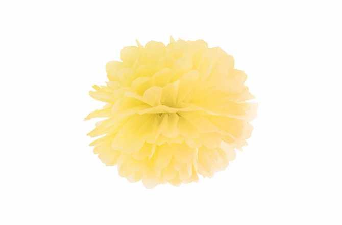 Pompon en papier de soie - jaune