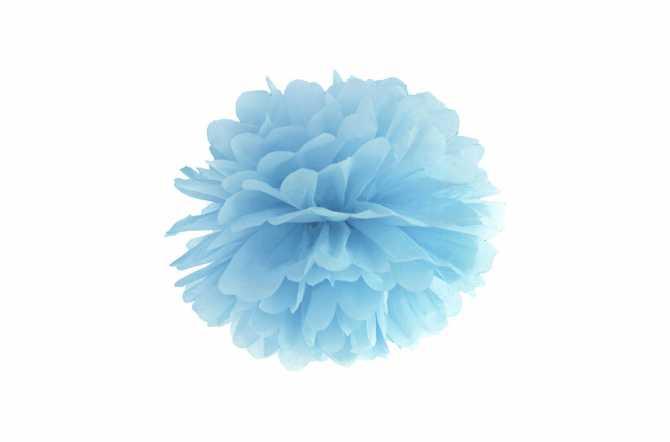 Pompom en papier de soie - bleu pastel
