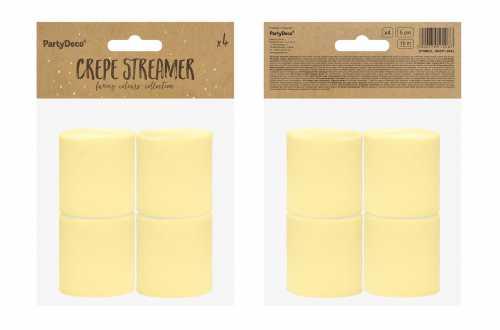 4 Rouleaux de papier crépon - jaune pastel