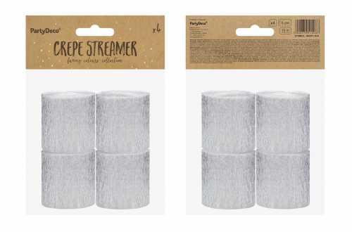 4 Rouleaux de papier crépon - argenté