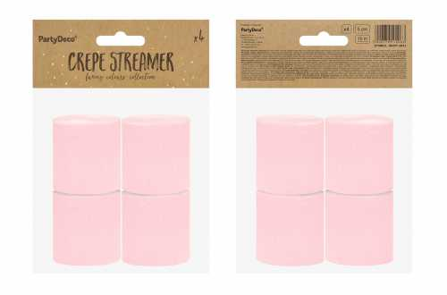 4 Rouleaux de papier crépon - rose pastel