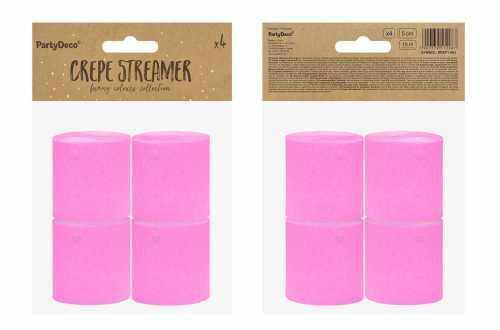 4 Rouleaux de papier crépon - rose fuchsia