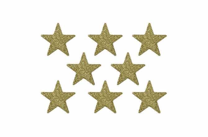 8 Confettis étoiles pailletés - doré